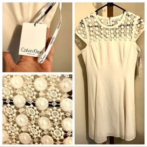 Calvin Klein Lace Top, Flare Skirt NWT DRESS